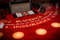 Blackjack table set up ready for play Royalty Free Stock Images