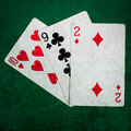 Blackjack twenty one square closeup view of playing cards forming the combination of points this is the tree card combination of Stock Image