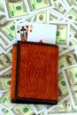 Blackjack in wallet Royalty Free Stock Photo