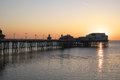 Blackpool north pier at sunet in west england sunset Royalty Free Stock Photography