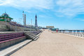 Blackpool queens promenade seaside in england uk with the iconic tower in the background Royalty Free Stock Image