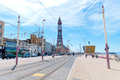 Blackpool queens promenade seaside in england uk with the iconic tower in the background Stock Photos
