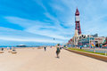 Blackpool queens promenade seaside in england uk with the iconic tower in the background Stock Images