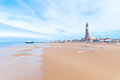 Blackpool seaside in england uk with the iconic tower in the background Royalty Free Stock Photo