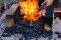 Blacksmith furnace with burning coals outdoor old fashioned Stock Photo