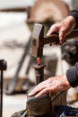 Blacksmith iron forging a close up Royalty Free Stock Photo