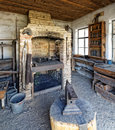 Blacksmith s workshop and forge vintage interior of with chimney breast anvil raised up on tall wooden log Stock Photos
