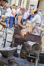 Blacksmith at work during medieval festival cetati transilvane in sibiu Stock Photo