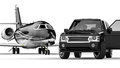 BlackSUV limousine with private jet