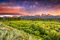 Blacktail ponds overlook colorful sunrise at in the tetons Royalty Free Stock Photography
