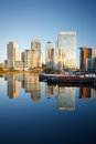 Blackwall basin and canary wharf london looking towards over Royalty Free Stock Photography