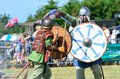 Blackwater country fare maldon essex uk june two vikings fighting with sword and shields Royalty Free Stock Photo