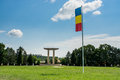 Blaj romania a romanian flag on the poll in the midle of a field at place where the romanian revolution of began Stock Photography