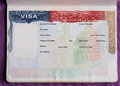 Blank american visa in passport Royalty Free Stock Photo