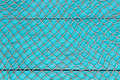 Blank antique teal blue aged wooden sign with fish net texture overlay Royalty Free Stock Photo
