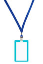 Blank badge with blue neckband vector illustration Stock Images