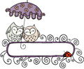 Blank banner with cute couple owls under umbrella