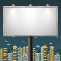 Blank billboard at night time Royalty Free Stock Photo