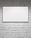 Blank billboard over white brick wall image of Royalty Free Stock Image