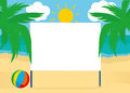 Blank billboard poster blank on a beach background with palm trees. For your text or advertising. Free place. Vector. Ball Royalty Free Stock Photo