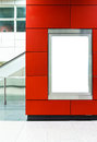 Blank billboard in red color the interior of the building Royalty Free Stock Image