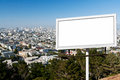Blank Billboard Sign with City Background Stock Image