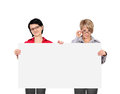 Blank billboard two women holding Royalty Free Stock Images