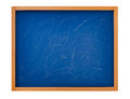 Blank blackboard blue used on white Royalty Free Stock Photo