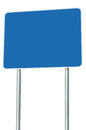 Blank Blue Road Sign Isolated Large Perspective Copy Space White Frame Roadside Signpost Signboard Pole Post Empty Traffic Signage Royalty Free Stock Photo
