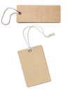 Blank brown cardboard price tags or labels set isolated Royalty Free Stock Photo