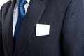Blank business card in business man suit jacket pocket