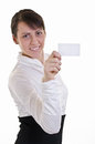 Blank Business card in hand Royalty Free Stock Photo