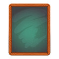 Blank cafe or school chalkboard in wooden frame. Isolated vector illustration.