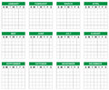Blank calendar without numbers can be used for planner or simply write the desired numbers Royalty Free Stock Photography