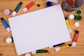 Blank canvas and drawing tools Stock Images