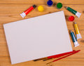 Blank canvas and drawing tools Stock Photo