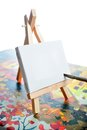 Blank canvas on easel Royalty Free Stock Images