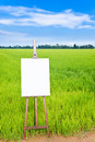 Blank canvas on an easel Royalty Free Stock Images