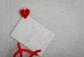 Blank card copy space text message and red heart symbol love vintage paper for valentine s day concept Royalty Free Stock Photo