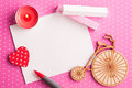 Blank card on pink polka dot background with bike Royalty Free Stock Photo