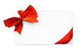 Blank card with red bow and red ribbon Stock Images