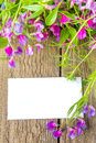 Blank card and spring flowers violet wild white with sample text over rustic wooden background texture surface vertical close up Royalty Free Stock Photos