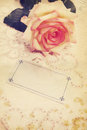 Blank card vintage still a rose and a Stock Photography