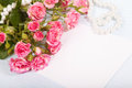 Blank cardboard with roses bouquet fresh pink Stock Photos