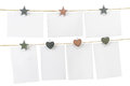 Blank cards pinned on the ropes space rope white background copy Stock Photos