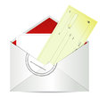 Blank check in envelope Stock Photo