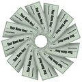 Blank Checks Spiral Pattern - Financial Freedom Royalty Free Stock Images