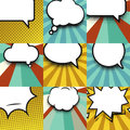 Blank comic balloon set template. Clear comics colorful speech bubbles halftone dot background style pop art collection
