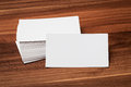 Blank corporate identity business card package on wood Stock Photos
