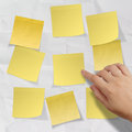 Blank crumpled sticky note paper on texture paper as concept Royalty Free Stock Image